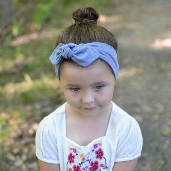 Bandeau bébé bandeau bleu double nœud âge nouveau-né