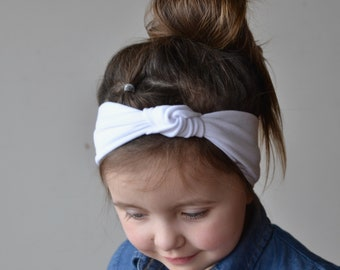 Wide White Knotted Turban Headband