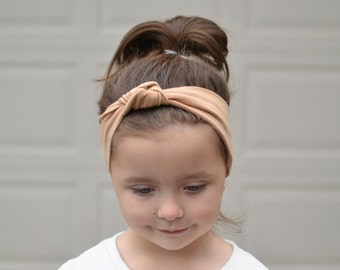 Wide Camel Brown Knotted Turban Headband