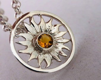 Stainless Steel Radiant Sun Charm PremoPlugz Audio Jewelry Necklace