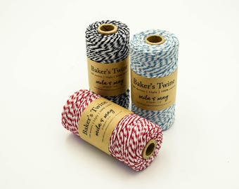 Cotton Twine 15+ Colours - 100m Spool 12ply Bakers Twine