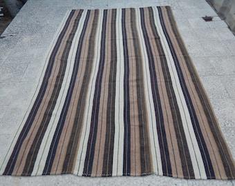 Tapis Boho Decor bio Kilim tapis, tapis Kelim Marron rayé sol turc Uni, plat naturel armure Boho tapis 5'9 '' X 8'5 '' / 176x256cm