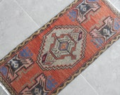 Distressed Small Turkish Oushak Yastik Rug, Useful Bath Mat, Faded Oriental Oushak Rugs, Overdyed Kitchen Runner 18 39 39 X 39 39 39 45 x 100cm