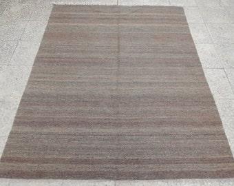 Tapis gris, Vintage Style moderne pour chambre d'enfant, salon et bureau Kilim tapis Simple unicolore gris tapis Kelim 4'8 '' X 5' 9'' / 142x175cm