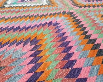 Faded rose vert, DIAMANT de couleur Orange motif Oriental Kilim tapis, grande maison Microtuft déco Bohème Kelim 5'7 '' X 9'6 '' / 170 x 290 cm