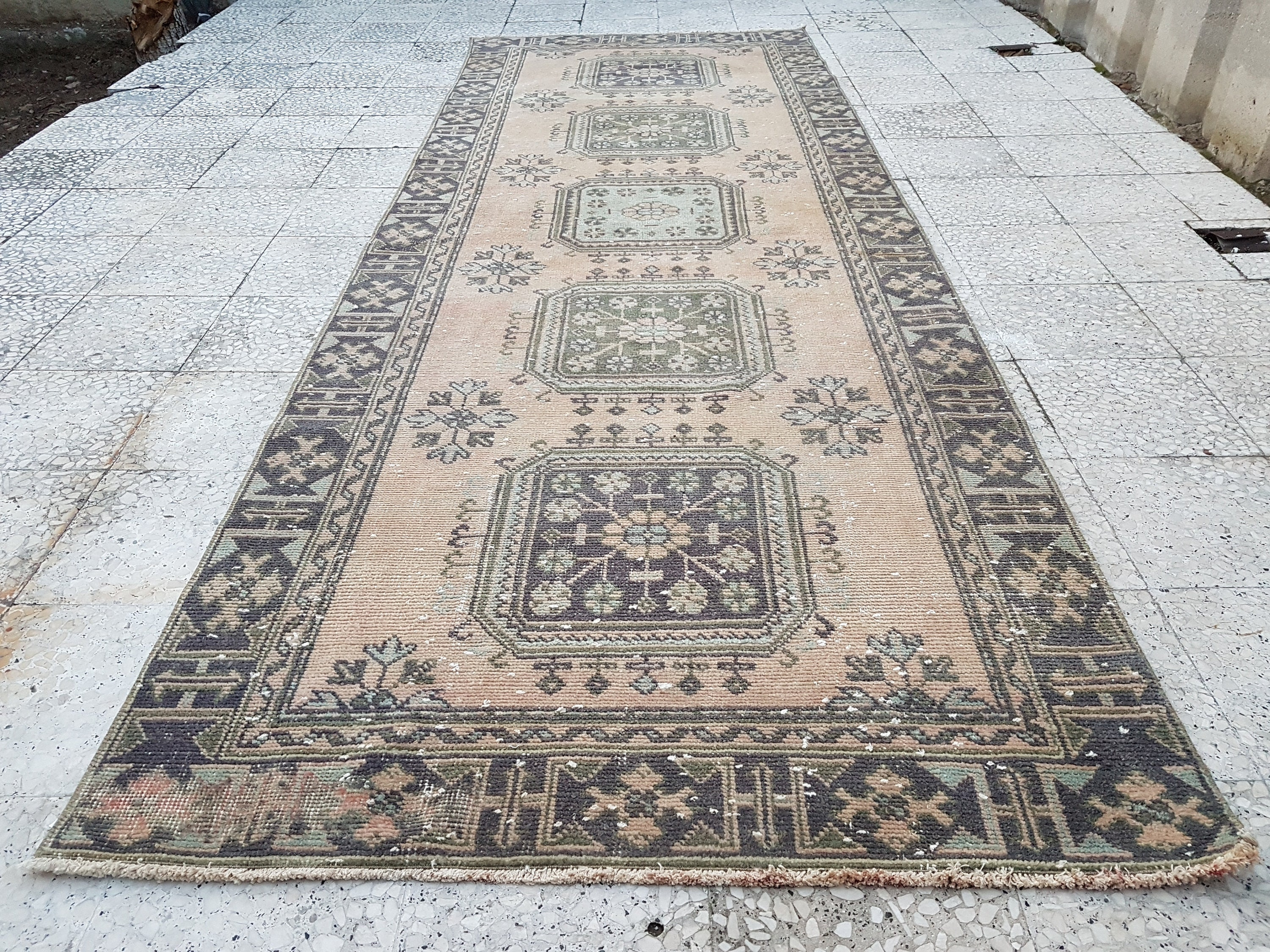 Wide Hall Runner Faded Rugs Runner Vintage Oriental Turkish Oushak Gallery Runners Farmhouse Kitchen Rugs Teppich 4 1 X 11 3 Ft