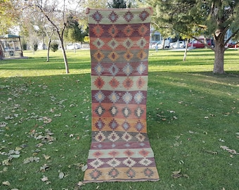 Vintage Turkish Handwoven Oushak Kilim Rug Runner for Home Decor, Traditional Old Wool Kelim in Pale Green and Orange Colors 2'11'' X 9'6''