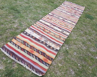 Vintage Turkish Handwoven Oushak Kilim Rug Runner, Traditional Old Striped Wool Kelim for Residential & Commercial interiors, 2'7'' X 10'6''