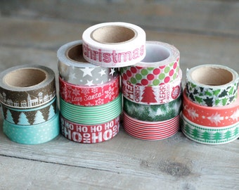 Surprise Christmas Washi Tape Full Rolls - Grab Bag Washi - Merry Christmas Variety Tape - Holiday Assorted Washi Tape Set