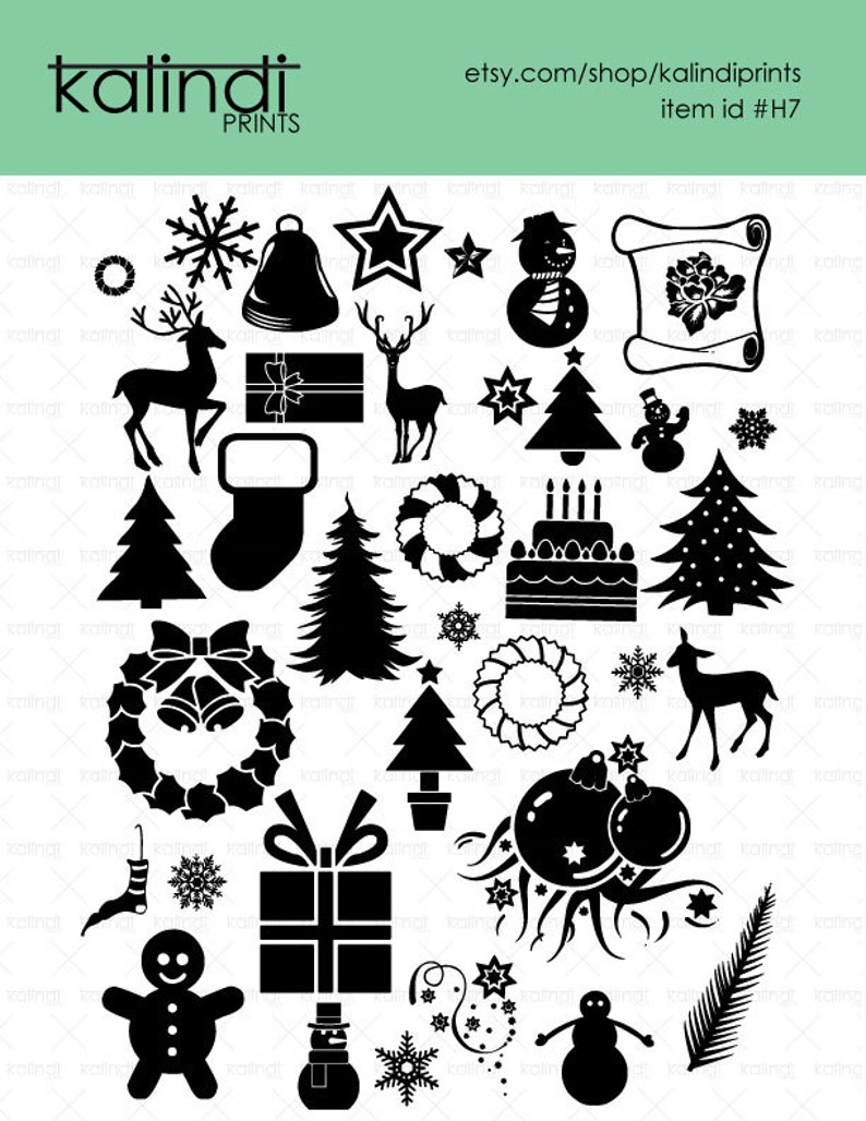 Merry Christmas SVG files, 36 Christmas vector designs, 1 PNG 300dpi  instant download, Winter Vector, Id#H7