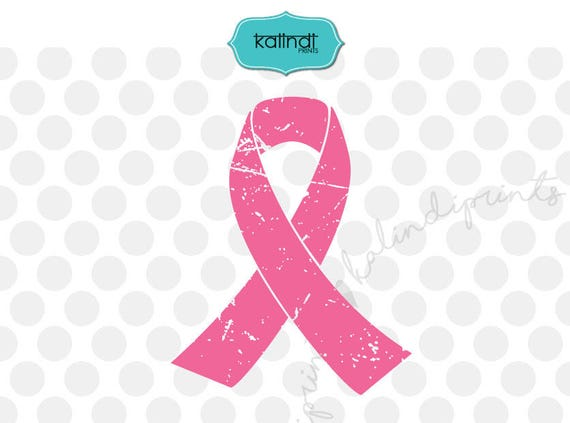 Grunge Pink Ribbon Svg Cancer Svg Grunge Svg Distressed Etsy