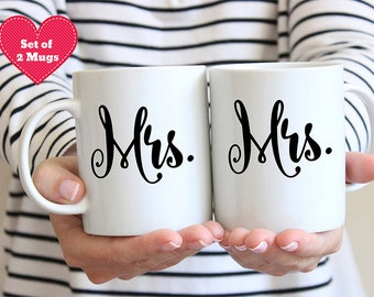 Mrs and Mrs Coffee Mug Set - Gay Marriage - Lesbian Brides - Gay Wedding