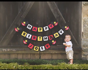 Mickey Mouse Themed Happy Birthday Banner