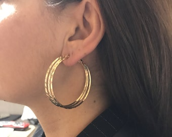 Metal Earring, Gold filled earring, Brass earring, Gold hoops