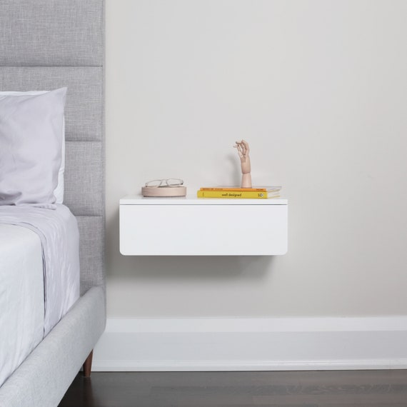 Floating Nightstand White Modern Floating Nightstand With Etsy