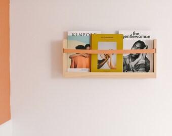 Modern Magazine Rack in Natural Oak | Wood Magazine Rack | Wall Mounted Magazine Rack