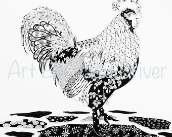 Lacy Plumage -Instant Coloring Page Download