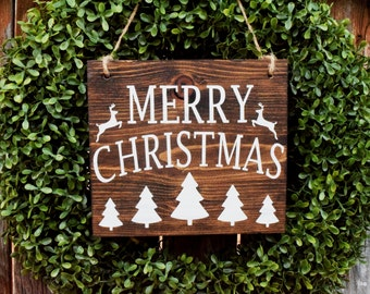 Merry Christmas Sign | Rustic Christmas Sign | Christmas Wreath Sign | Outdoor Christmas Sign | Reindeer Sign | Christmas Tree Sign | Wooden