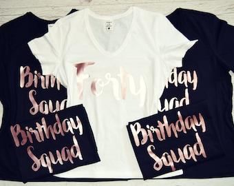 ROSE GOLD Birthday Squad Shirts Set Of 1 2 3 4 5 6 7 8