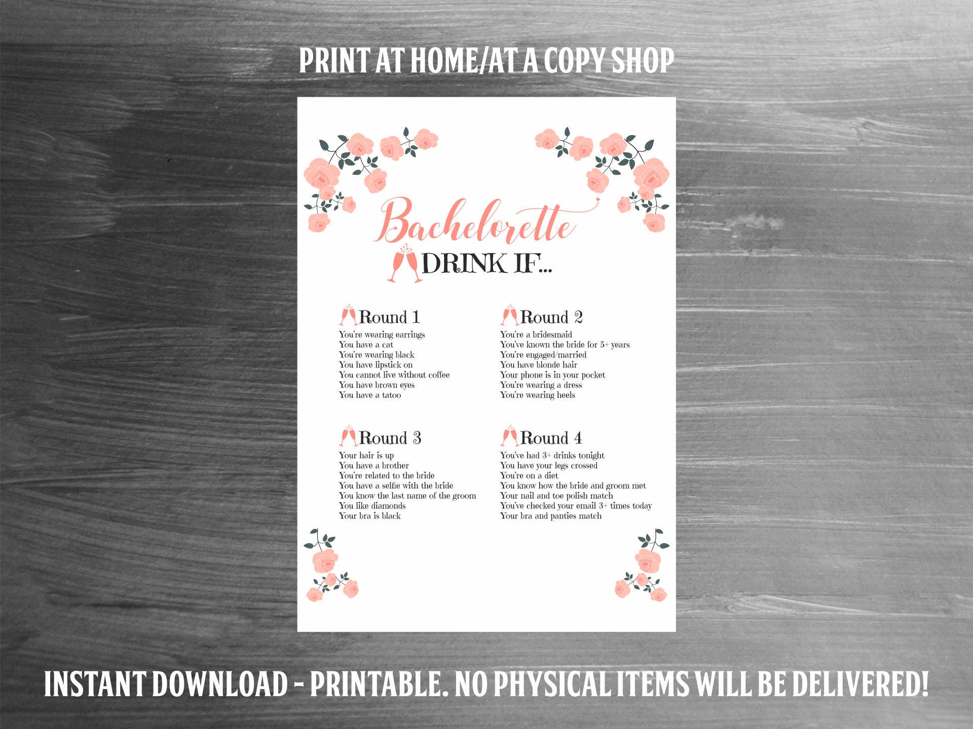 Bachelorette Party Game, Bachelorette Game, Drink If Game, PRINTABLE ...