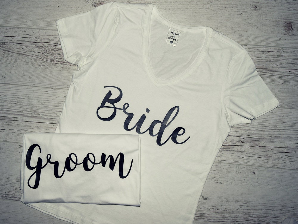 70d4116dc2 Bride and Groom Couples Shirts, Custom Mr. and Mrs. Est. T-shirt Set,  Matching Honeymoon Tshirts Bundle, Newlyweds Gift