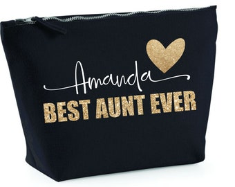 Aunt Gift (Personalized Makeup Bag), Gift for Aunt, Custom Auntie Gift, BEST AUNT EVER, Best Aunt Gifts for Christmas from Niece and Nephew