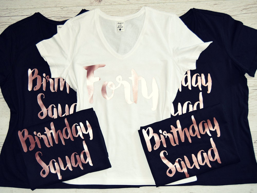 ROSE GOLD Birthday Squad Shirts Set Of 1 2 3 4 5 6 7 8 9 10