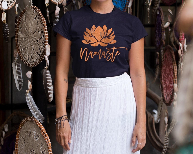 49051428bc Namaste T Shirt, Lotus Tshirt, Flower Yoga Top, Yoga Shirt for Meditation, Yoga  Clothing for Her, Lotus Mudra, Buddhism, Hinduism, Padmasana