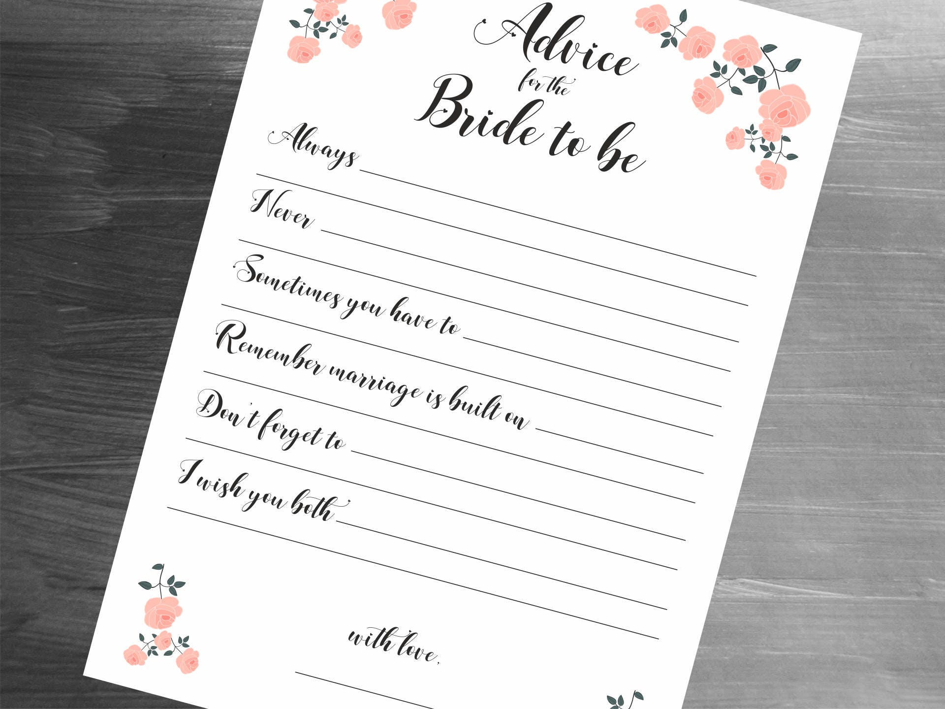 printable wedding advice for the bride bridal shower advice cards digital prints bridal shower advice instant download pdf