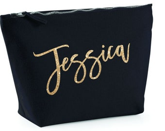 Personalized Canvas Makeup Bag for Women with Custom Name
