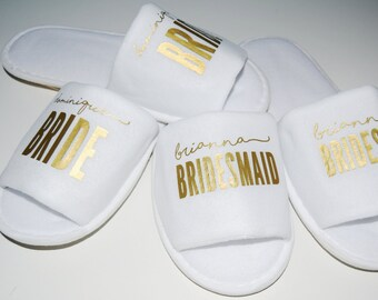 Bridesmaid Slippers (Personalized) for Getting Ready on Wedding Day; Gift for Girls Getaway, Bachelorette Party, Spa Weekend, Birthday Party