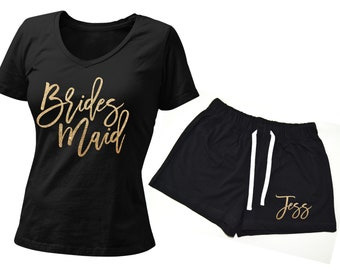 Bridesmaid Shirts and Shorts, Bride Pajamas, Bride Pajama Set, Bridal Pajama, Honeymoon PJs, Bridal Pajama Set, Personalized Bridal Pajama