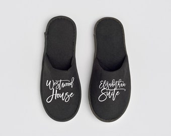 Branded slippers for hotels, hostels, apartments, vacation rentals, villas, personalized hotel slippers with your custom small business logo
