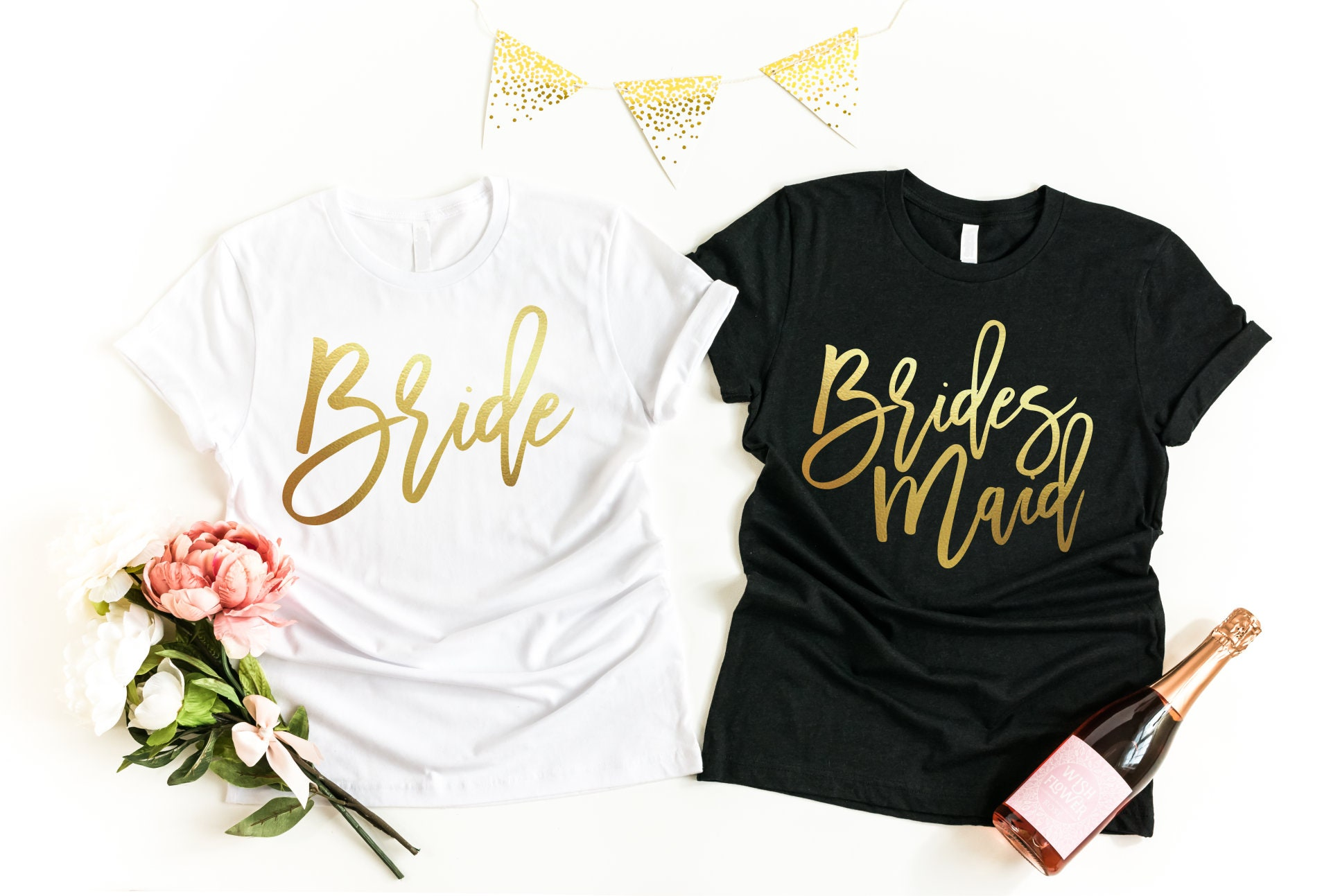 9ef38b070b16 Bridesmaid Tshirt Set (you choose qty); Custom Bachelorette Shirts,  Matching T Shirts, Bride Squad, Wedding Tees Bridal, Bachelorette Party