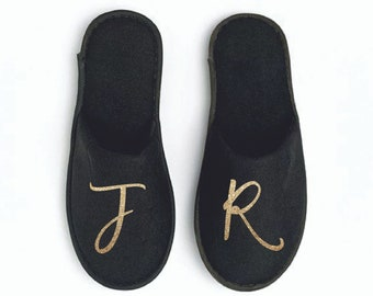 Monogrammed Slippers, Personalized Slippers with Monogram or Custom Initials, White or Black, Open Toe or Closed Toe