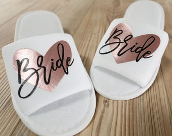 Bride Slippers, Bridal Slippers, Wedding Slippers (Personalized) for Getting Ready on Wedding Day; Bridesmaid Hotel Slippers for Spa Weekend