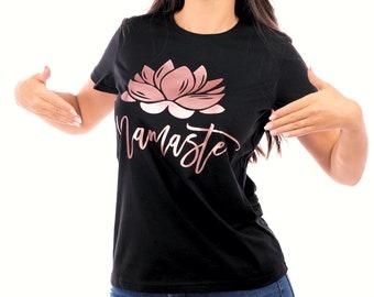 Lotus Tshirt, Namaste T Shirt, Flower Yoga Top, Yoga Shirt for Meditation, Yoga Clothing for Her, Lotus Mudra, Buddhism, Hinduism, Padmasana