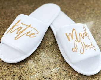 Bridesmaid Slipper,  Adult Party Favor, Bridesmaid Slippers Set, Custom Wedding Slipper, Personalize Bridal Slipper Woman, Girls Trip Gift