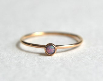 One Gold Filled Purple Opal Ring, Gold Opal Ring, Opal Ring Gold, Gold Stacking Ring, Dainty Opal Ring, Stackable Ring