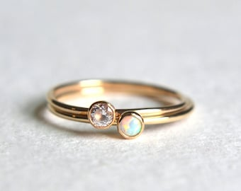 Set of Two Gold Filled Opal Rings, Gold Opal Ring, Opal Ring Gold, White Opal Ring, Gold CZ Ring, Stackable Ring, Gold Stacking Ring