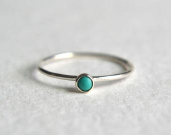 14k Solid WHITE Gold Turquoise Ring, White Gold Turquoise Ring, Turquoise Ring White Gold, Stacking Ring, Stackable, Palladium Ring