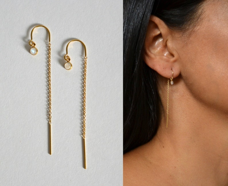 Ear Threader Moonstone Earrings