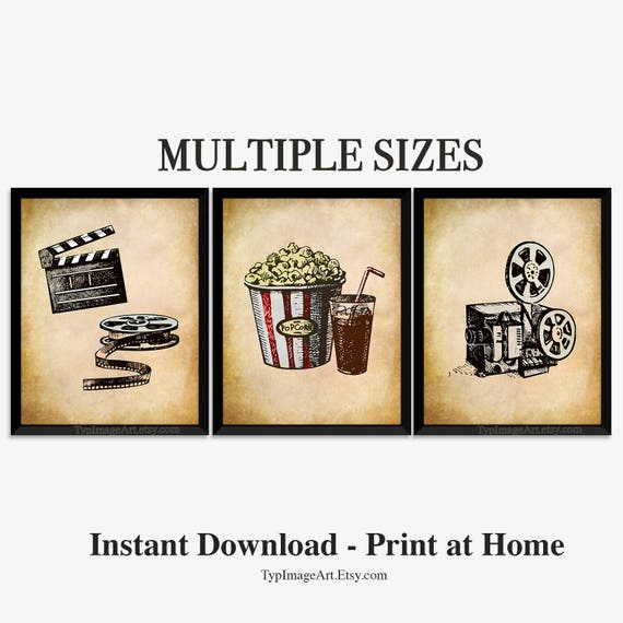 Movie Theater Decor Printable Wall Art Home Theater Best | Etsy