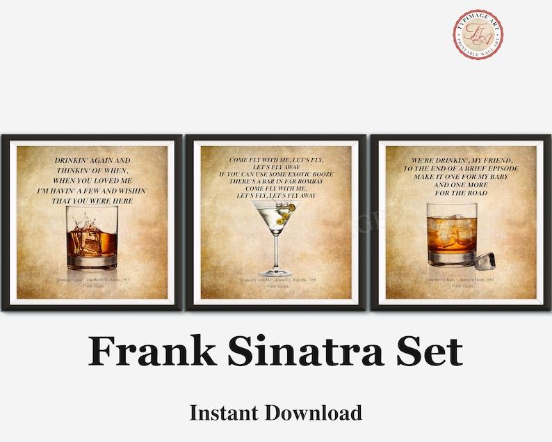 Frank Sinatra Lyrics Music Gift Bar Home Bar Square | Etsy