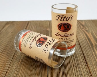 Vodka Shot Glasses Made From Recycled Tito's Miniature Bottles