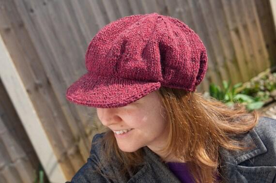 Ladies Baker Boy Peaked Hat Cap KNITTING PATTERN Tweed Aran Flat Or in the round