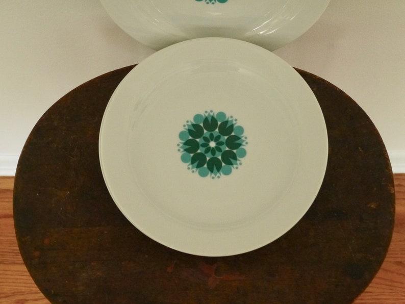 Vintage Mid Century SaladDessert plates green and Turquoise medallion Thomas set of Four
