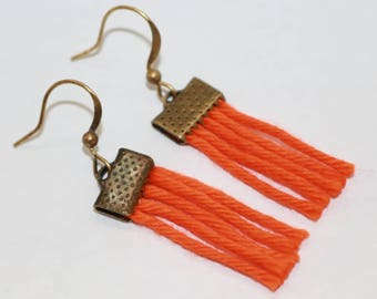 Earrings made of cotton tapestry, bohemiein