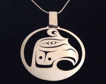 Thunderbird Head - Northwest Coast Sterling Silver Pendant