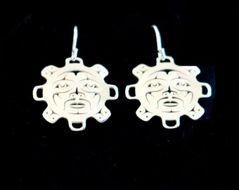 Sun earrings - Northwest Coast Sterling Silver
